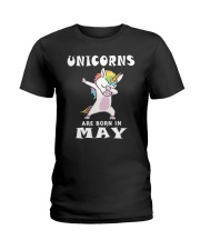 Cute Unicorns Are Born In May Novelty Gift T-Shirt Ladies T-Shirt thumbnail