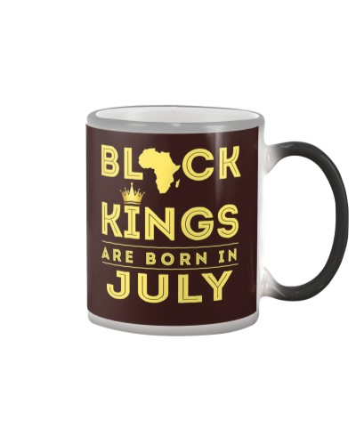 Kings Are Born In July Birthday T-Shirt for Black