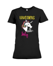 Unicorns Are Born In July Unicorn Birthday Gift Te Premium Fit Ladies Tee thumbnail