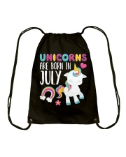 Unicorns Are Born in July Novelty T-Shirt Drawstring Bag front