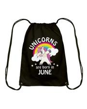 Unicorns Are Born In June Birthday Dabbing T-Shirt Drawstring Bag thumbnail