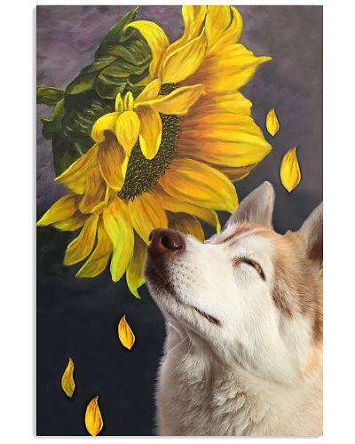 Siberian husky sunflower poster