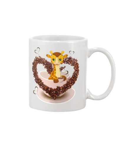 Giraffe coffee heart mug