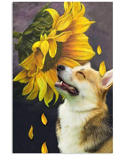 Corgi sunflower poster