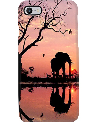 Elephant sunset phone case
