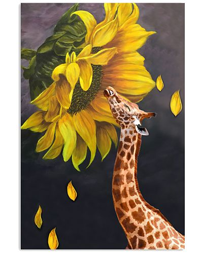 Giraffe sunflower poster
