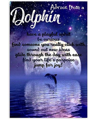 Dolphin moonlight poster