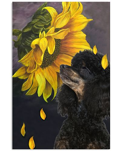 Black poodle sunflower poster