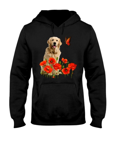 Golden retriever flowers and butterfly