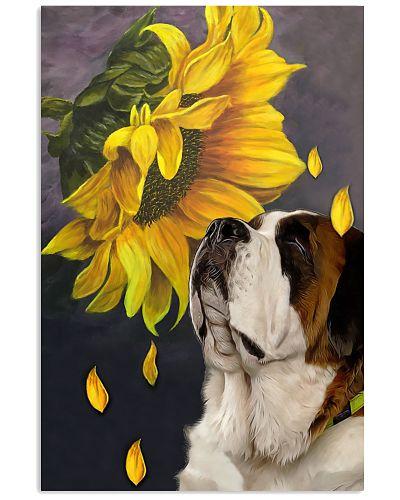St bernard sunflower poster