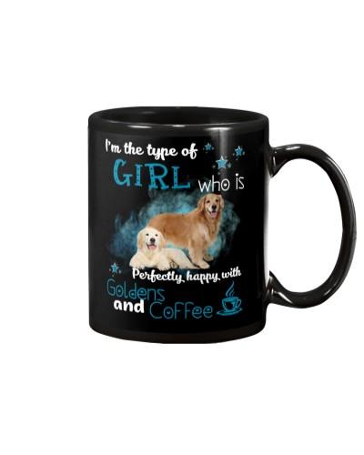 Golden retriever coffee girl mug