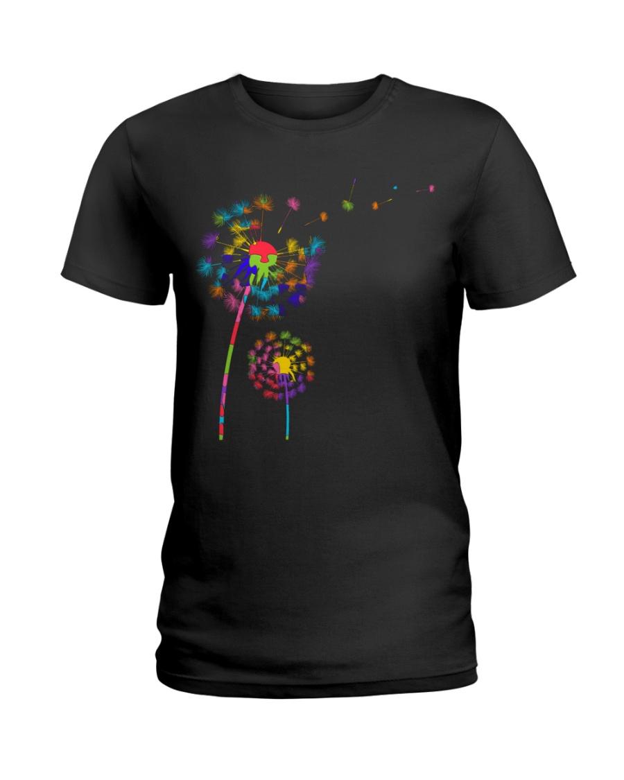 Dandelion Autism Awareness Month Flower Puzzle Ladies T-Shirt