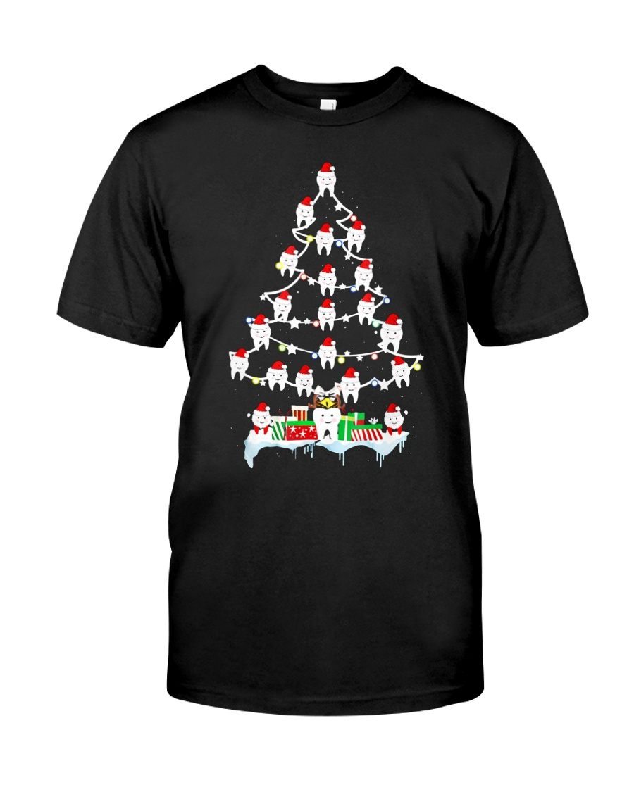 Teeth Christmas Tree Funny Dental T-Shirt For Men  Classic T-Shirt