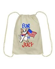Fur Of July Happy 4th of Juky Celebration meowica Drawstring Bag thumbnail