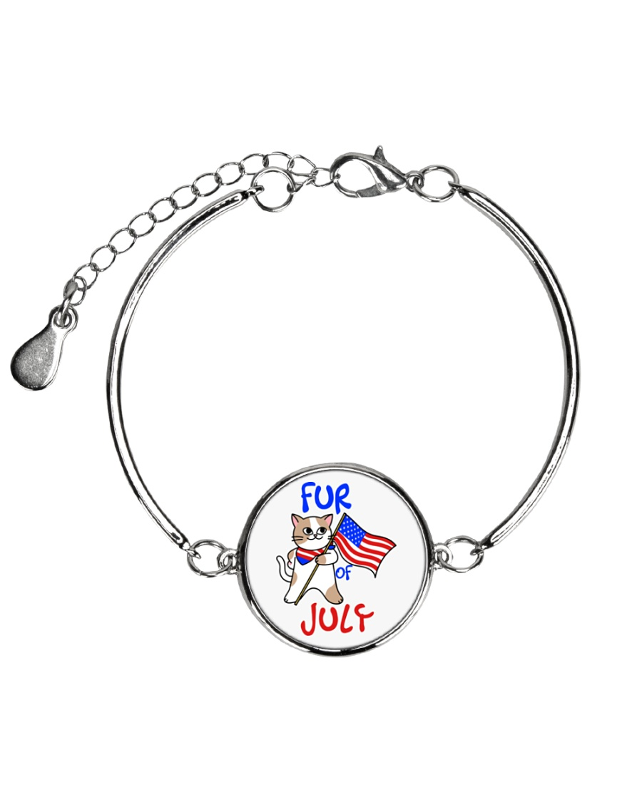 Fur Of July Happy 4th of Juky Celebration meowica Metallic Circle Bracelet