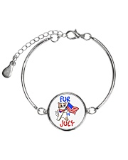 Fur Of July Happy 4th of Juky Celebration meowica Metallic Circle Bracelet front