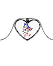 Fur Of July Happy 4th of Juky Celebration meowica Metallic Heart Necklace thumbnail
