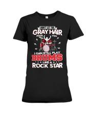 PLAY DRUMS LIKE A ROCK STAR Premium Fit Ladies Tee thumbnail