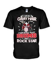 PLAY DRUMS LIKE A ROCK STAR V-Neck T-Shirt thumbnail