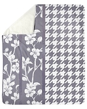 "Grey houndstooth floral pattern Sherpa Fleece Blanket - 50"" x 60"" thumbnail"