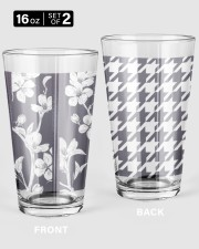 Grey houndstooth floral pattern 16oz Pint Glass - 2 pieces thumbnail