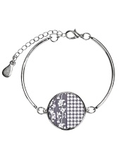 Grey houndstooth floral pattern Metallic Circle Bracelet thumbnail