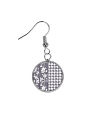 Grey houndstooth floral pattern Circle Earrings thumbnail