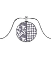 Grey houndstooth floral pattern Metallic Circle Necklace thumbnail