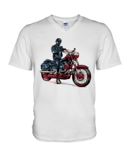Old Man On Motorcycle V-Neck T-Shirt thumbnail