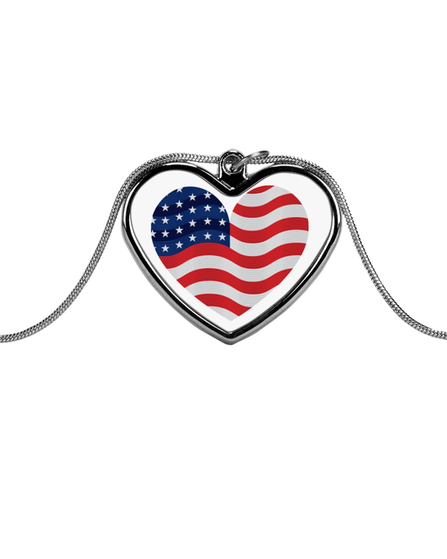 I Love America Necklace Metallic Heart Necklace