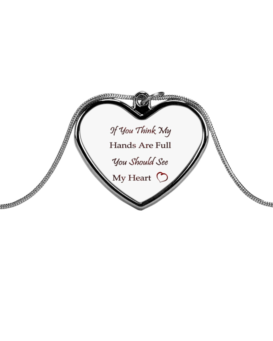 Hands Are Full  Necklace Metallic Heart Necklace