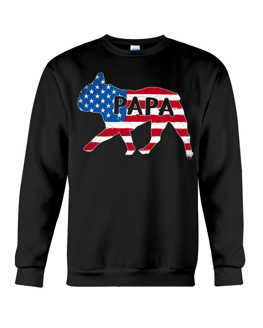 Papa French Bulldog American Flag Shirt Crewneck Sweatshirt