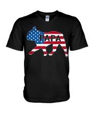 Papa French Bulldog American Flag Shirt V-Neck T-Shirt thumbnail