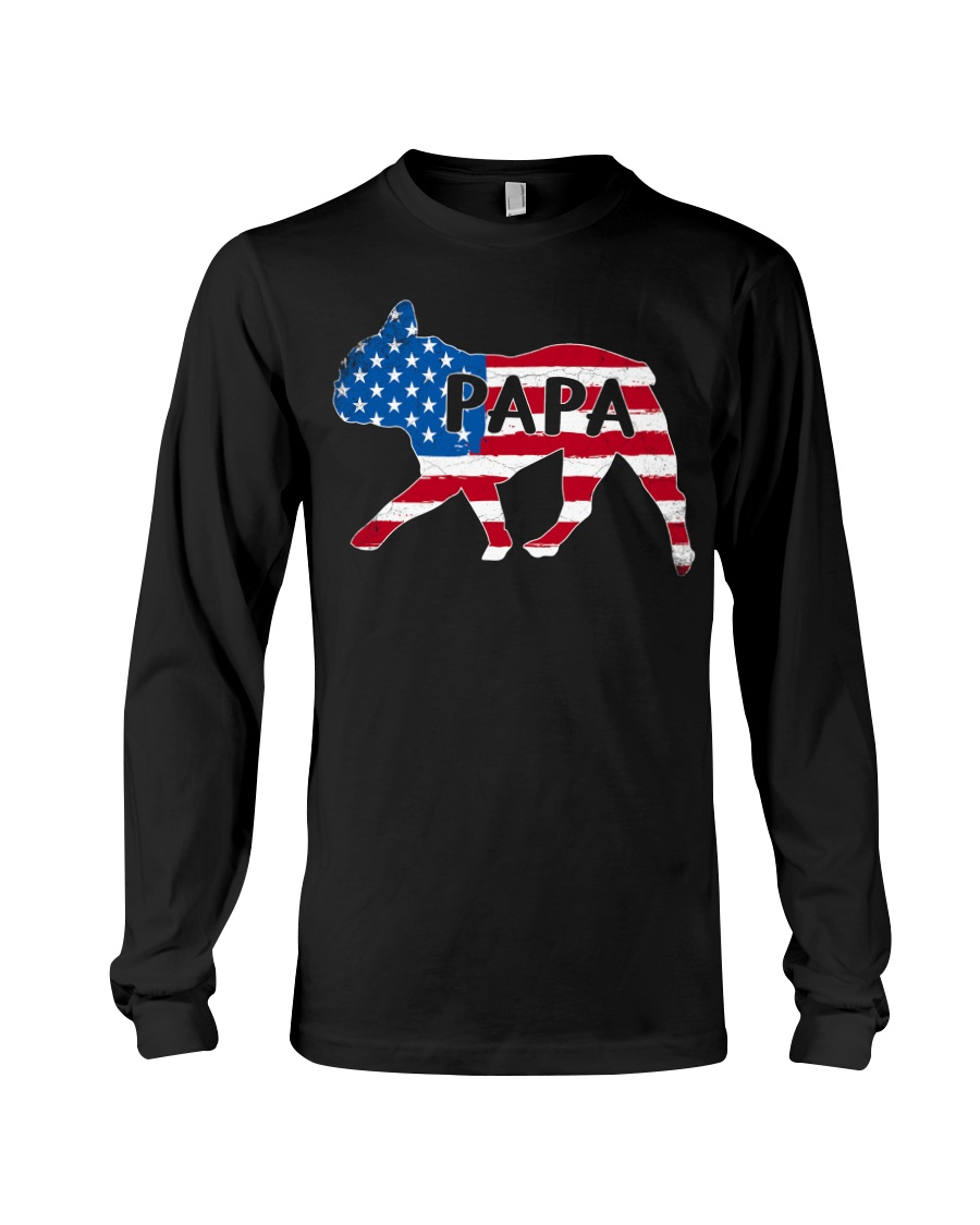 Papa French Bulldog American Flag Shirt Long Sleeve Tee