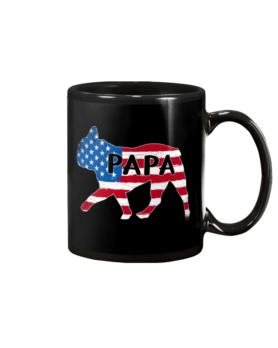 Papa French Bulldog American Flag Shirt Mug