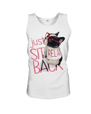 Frenchie Just Sit Relax Back Unisex Tank thumbnail