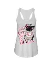 Frenchie Just Sit Relax Back Ladies Flowy Tank thumbnail