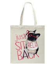 Frenchie Just Sit Relax Back Tote Bag thumbnail
