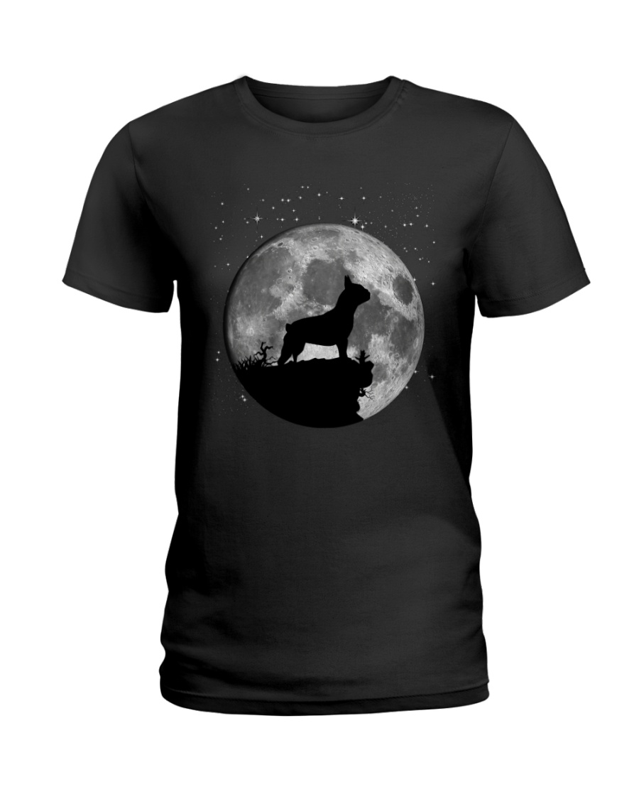 French Bulldog On The Moon T Shirt Ladies T-Shirt
