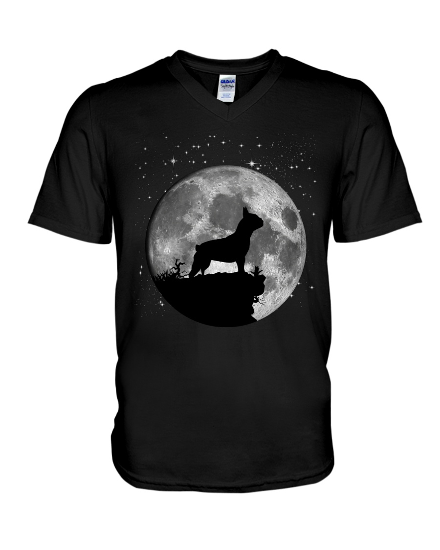 French Bulldog On The Moon T Shirt V-Neck T-Shirt