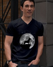 French Bulldog On The Moon T Shirt V-Neck T-Shirt lifestyle-mens-vneck-front-2
