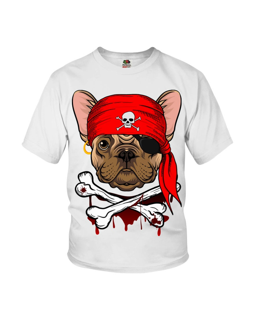 French bulldog Pirate Halloween Costume Youth T-Shirt