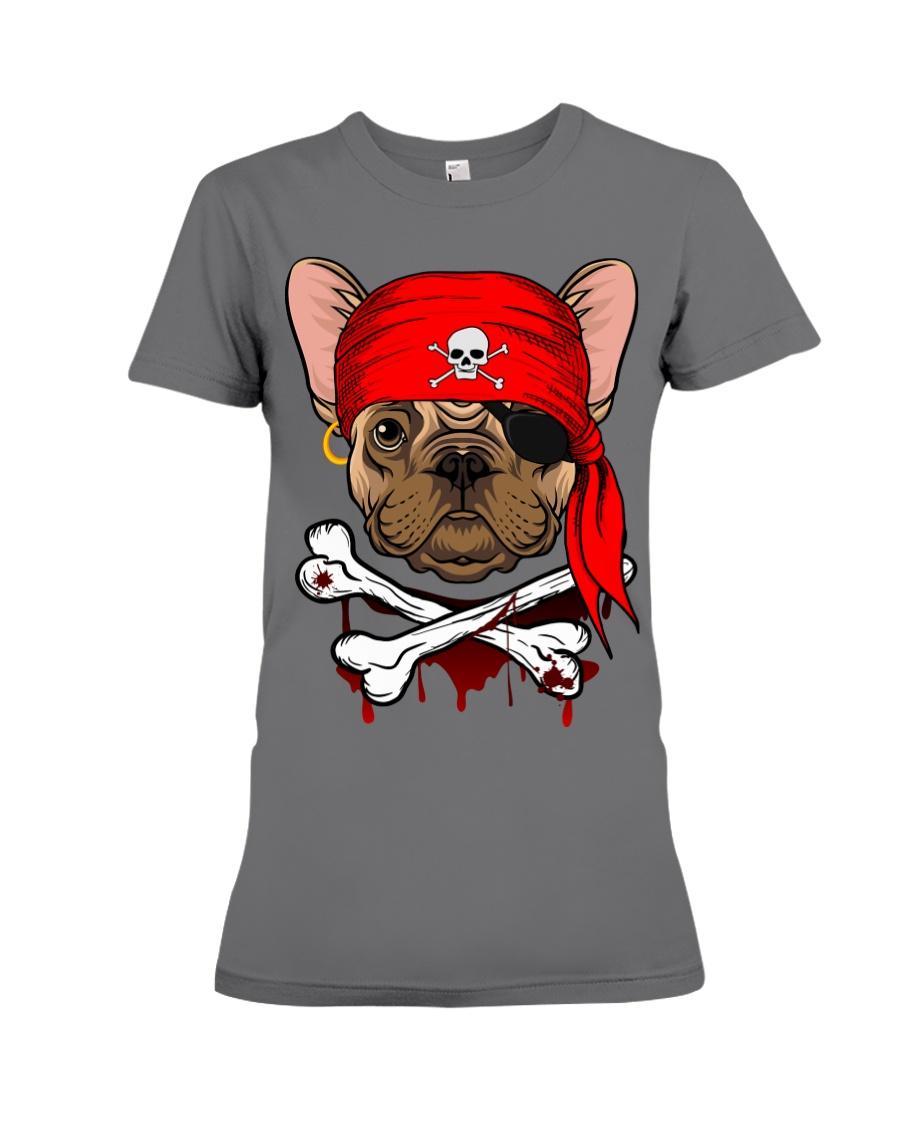 French bulldog Pirate Halloween Costume Premium Fit Ladies Tee