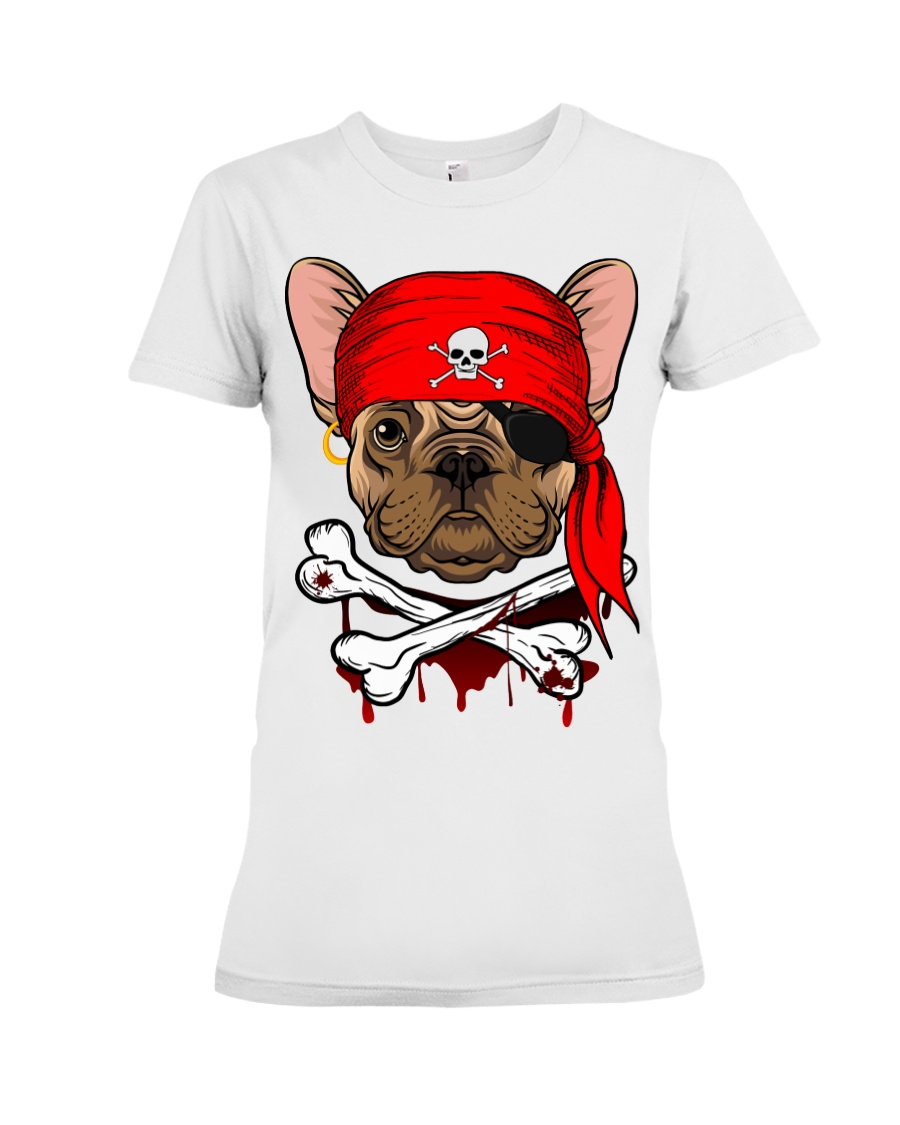 French bulldog Pirate Halloween Costume Premium Fit Ladies Tee