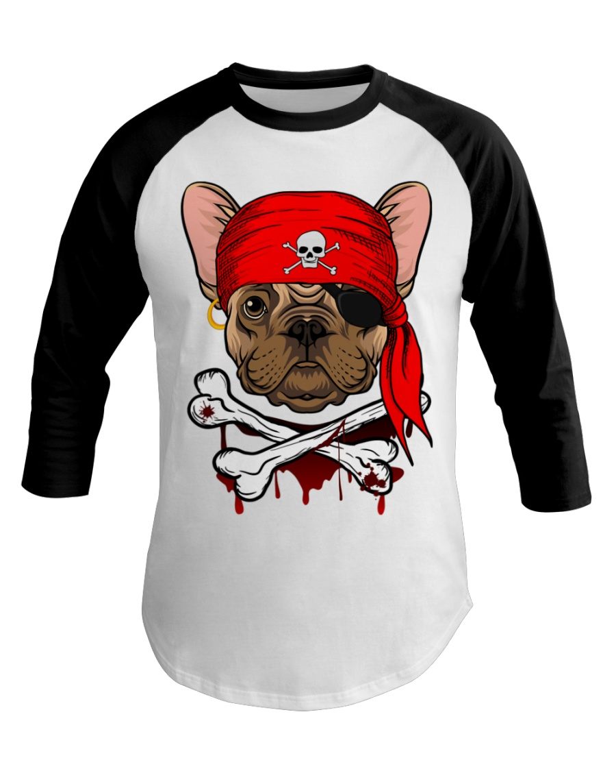 French bulldog Pirate Halloween Costume Baseball Tee
