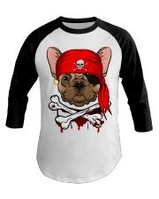 French bulldog Pirate Halloween Costume Baseball Tee front