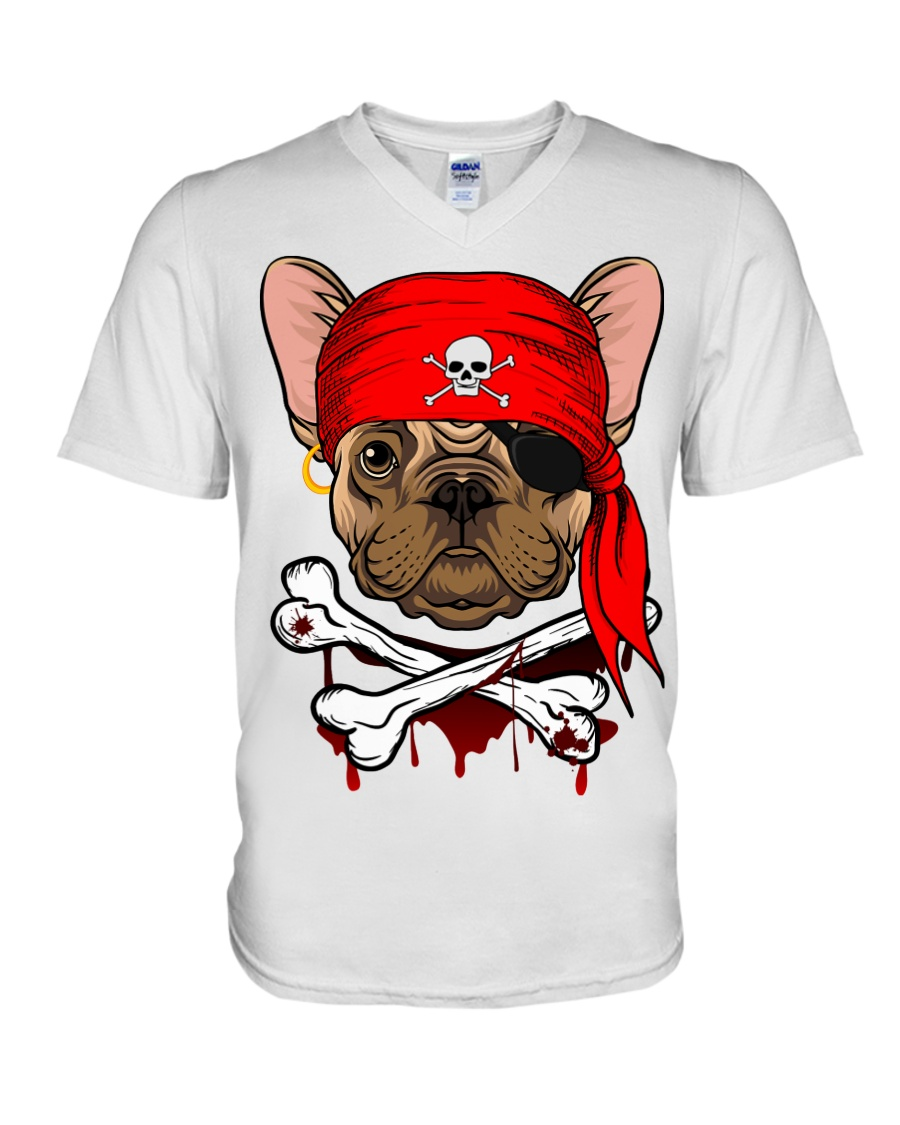 French bulldog Pirate Halloween Costume V-Neck T-Shirt