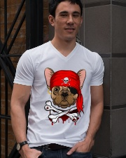 French bulldog Pirate Halloween Costume V-Neck T-Shirt lifestyle-mens-vneck-front-2