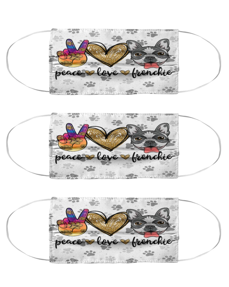 Peace Love Frenchie Face Mask Cloth Face Mask - 3 Pack