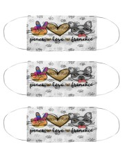Peace Love Frenchie Face Mask Cloth Face Mask - 3 Pack front